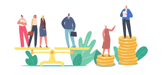 Gender discrimination and sex inequality and imbalance concept. male and female characters stand on scales, businessman and businesswoman unequal salary, feminism. cartoon people vector illustration