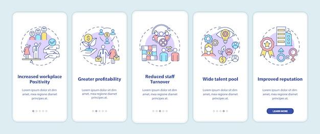 Преимущества политики гендерного разнообразия: экран страницы мобильного приложения с концепциями