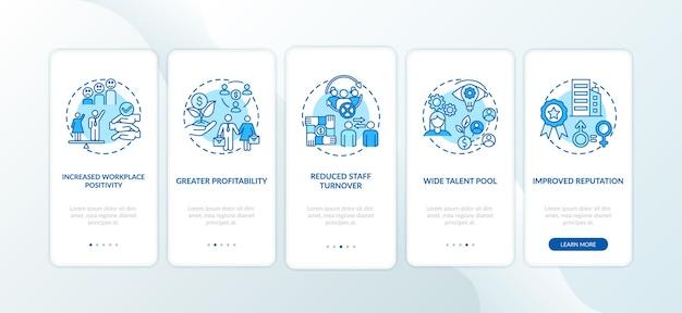 ジェンダーダイバーシティポリシーは、コンセプトを備えたモバイルアプリページ画面のオンボーディングにメリットをもたらします