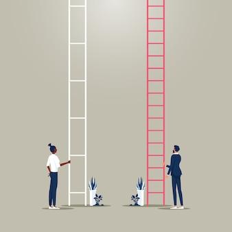 성 평등 사업가와 여성은 회사에서 경력 사다리 다른 기회에 서 있습니다