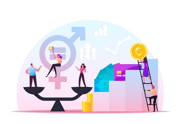 Gender equality concept. businessman and businesswoman characters on scales on the same height. symbol of equal pay, salary, fairness justice and emancipation. cartoon people vector illustration