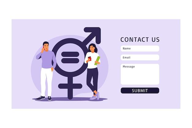 Gender equality concept. contact us form for web. men and women character on the scales for gender equality. vector illustration. flat.
