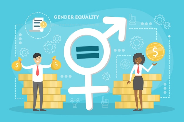 Gender equality concept. female and male character