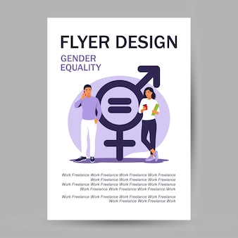 Gender equality concept. flyer design. men and women character on the scales for gender equality. vector illustration. flat.