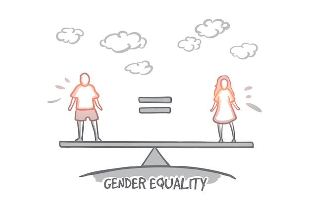 남녀 평등 개념. 손으로 그린 남성은 여성과 같습니다. 고립 된 남자와 여자 사이의 평등