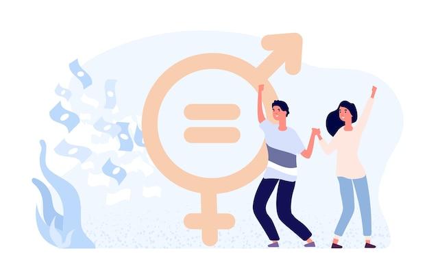 男女共同参画の概念。幸せな女性と男性のフラットなキャラクター、お金と性別記号。男女共同参画。給与の権利性別