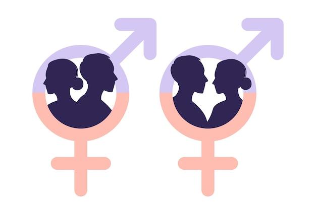 男女共同参画の概念。男性と女性は、男女平等の尺度で性格を示します。男性と女性のシルエット。性別記号。ベクトルイラスト。平らな。