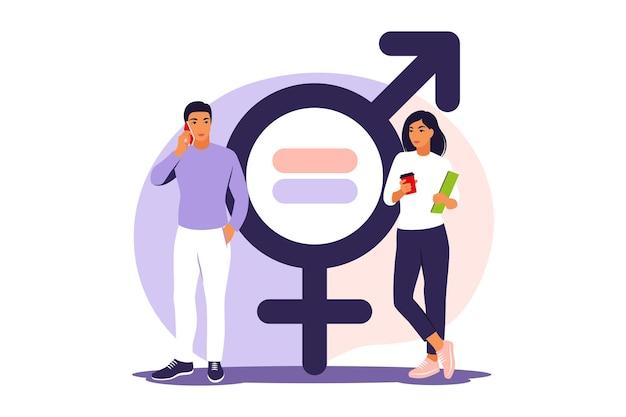 男女共同参画の概念。男性と女性は、男女平等の尺度で性格を示します。ベクトルイラスト。フラット。