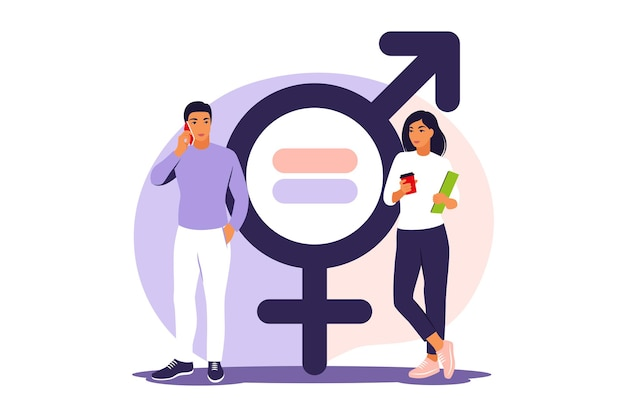 Gender equality concept. men and women character on the scales for gender equality. vector illustration. flat.