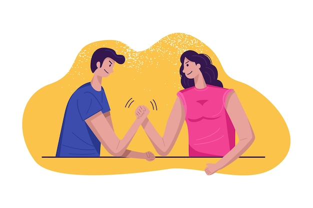 Gender equality concept, woman and man arm wrestling challenge