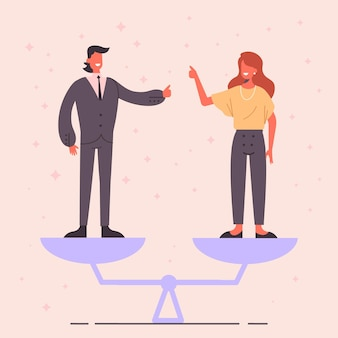 Гендерное равенство иллюстрированный дизайн