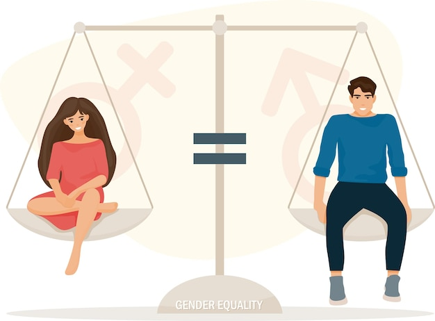 Gender equality illustration with boy and girl sitting on scale
