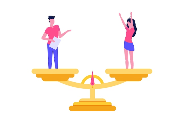 Gender equality isometric concept with man and woman