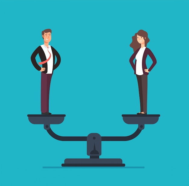 Gender equality with businessman and businesswoman on scales.