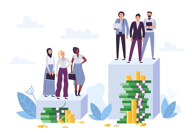 성별 격차와 급여 불평등. 여성 차별, 성 차별 및 불의. 낮은 직위와 돈 더미를 가진 다양한 여성 직원. 더 큰 급여 벡터를 가진 남자 비즈니스 노동자