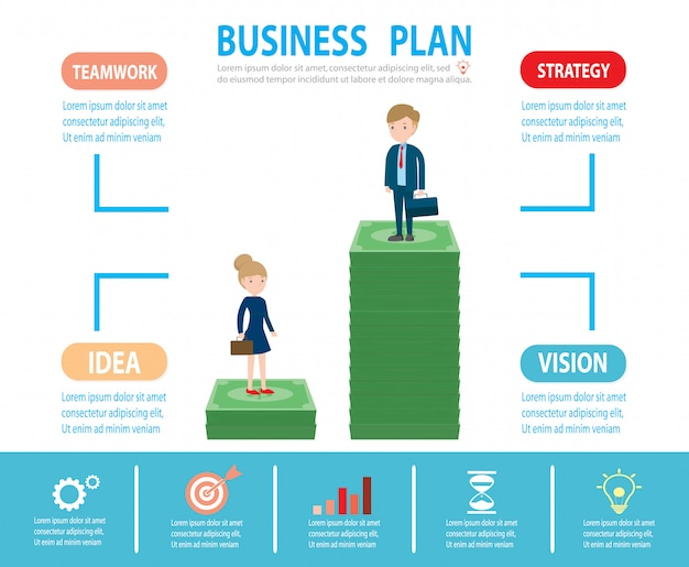 Gender gap and inequality in salary, businessman on a ladder above the clouds, step by step, person goes up the stairs, banner, diagram, web design, infographics, business concept