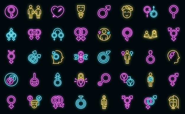 성별 정체성 아이콘을 설정합니다. 블랙에 성별 정체성 벡터 아이콘 네온 색상의 개요 세트