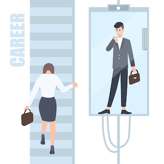 Gender inequality issues concept. business woman and man climb the career ladder where different opportunities for males and females. cartoon flat colorful illustration.