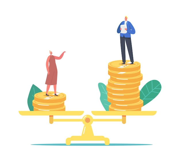 Gender inequality, sex discrimination concept. businessman and businesswoman characters stand on scales with different slary money piles