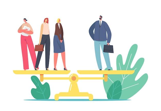 ジェンダーの不平等、性差別の公平性の概念。 1人のビジネスマンと3人のビジネスウーマンのキャラクターが体重計の上に立っています。女性の権利、フェミニズム、給与の不均衡。漫画の人々のベクトル図