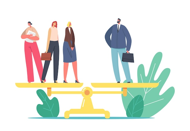Gender inequality, sex discrimination fairness concept. one businessman and three businesswomen characters stand on scales. woman rights, feminism, salary imbalance. cartoon people vector illustration
