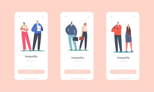 Шаблон встроенного экрана мобильного приложения «гендерное неравенство, дискриминация по признаку пола». бизнесмен и бизнесвумен персонажей разная зарплата. концепция прав женщины. мультфильм люди векторные иллюстрации