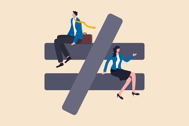 Gender inequality, unequal discrimination on lady or woman such as career, work or social rights issue concept, unequal or not equal sign with businessman on top level and businesswoman on lower level
