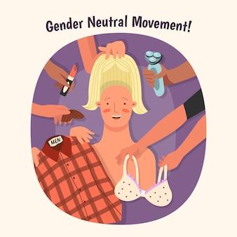 Illustrazione di movimento neutro rispetto al genere con carattere
