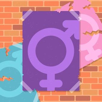 Гендерно-нейтральные плакаты движения на стене