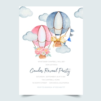 Gender reveal announcement invitation with cute pink and blue watercolor hot air balloons