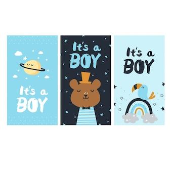 Gender reveal of a boy cards