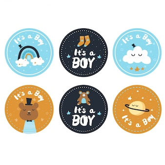 Gender reveal of a boy stickers Premium Vector