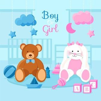 Gender reveal concept illustrated in flat design