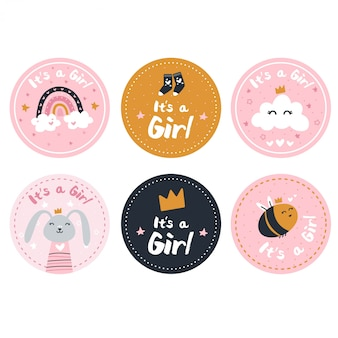 Gender reveal of a girl stickers