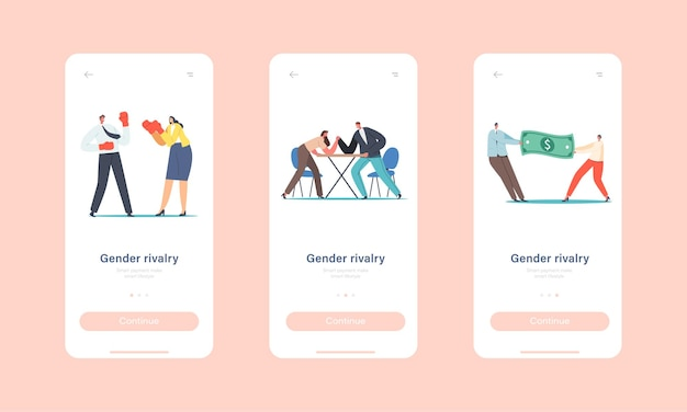 Gender rivalry, competition, leadership mobile app page onboard screen template. male and female characters battle and fight, man and woman struggle concept. cartoon people vector illustration