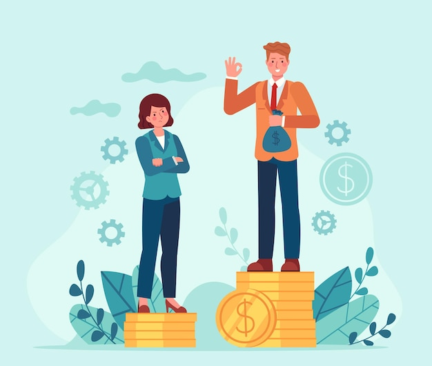 Гендерный разрыв в заработной плате. деловой мужчина и женщина, стоя на стеках неравных денег. женская дискриминация. неравенство в векторном понятии оплаты труда. иллюстрация неравенства финансовых прав, неравенства в оплате