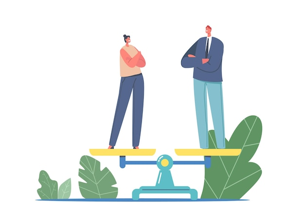성 평등과 균형 개념. 비늘에 사업가 및 사업가 문자입니다. 남성과 여성의 관용 동일한 권리, 페미니즘, 차별. 만화 사람들 벡터 일러스트 레이 션