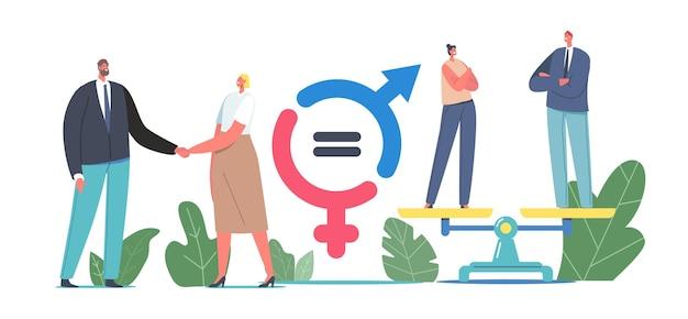 ジェンダーの性の平等とバランスの概念。握手する男性と女性のビジネスキャラクター、ビジネスマンと女性実業家は、スケール、同等の給与、フェミニズムに立っています。漫画の人々のベクトル図