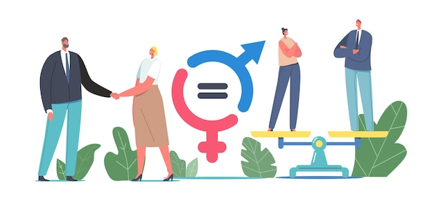Gender sex equality and balance concept. male and female business characters shaking hands, businessman and businesswoman stand on scales, equal salary, feminism. cartoon people vector illustration