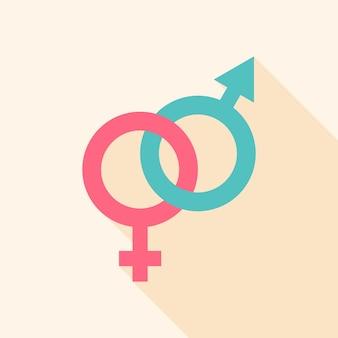 성별 기호입니다. 긴 그림자가 있는 평면 양식 개체