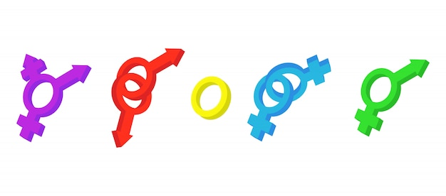 Gender sign icon set