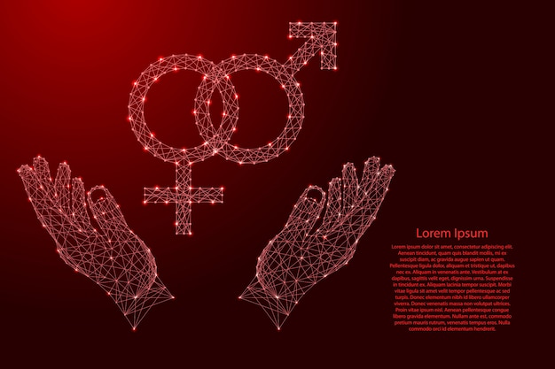 Gender signs of male and female origin are intertwined and two holding