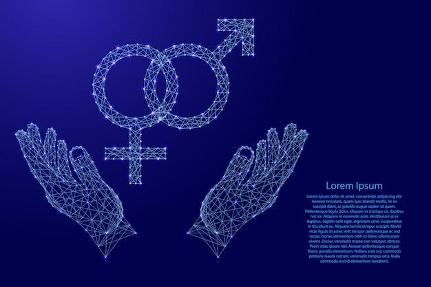 男性と女性の起源の性別の兆候が絡み合って、2つの保持、未来的な多角形の青い線とバナー、ポスター、グリーティングカードの輝く星から手を保護します。