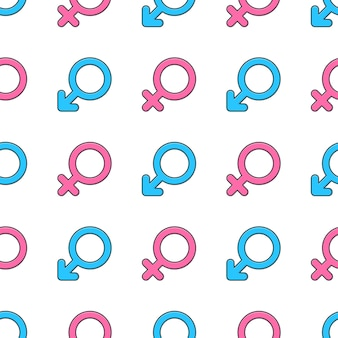 Gender symbol seamless pattern on a white background. male and female gender theme vector illustration