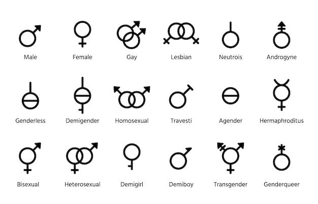 Гендерные символы. установите контурные черные знаки, изолированные на белом фоне. простая иллюстрация.