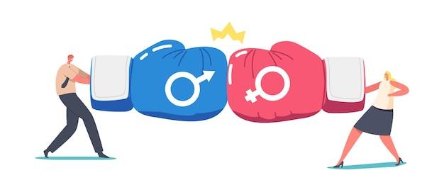 ジェンダーチームのライバル関係、オフィスのスーパーヒーローの戦いのコンセプト。男性と女性のビジネスマンのキャラクターの戦争の競争、赤と青のボクシンググローブと王冠との戦い。漫画の人々のベクトル図