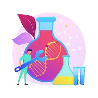 Illustrazione di concetto astratto di terapia genica. trattamento del cancro genetico, terapia di trasferimento dei geni, medicina rigenerativa, approccio sperimentale in oncologia, prevenzione delle malattie.
