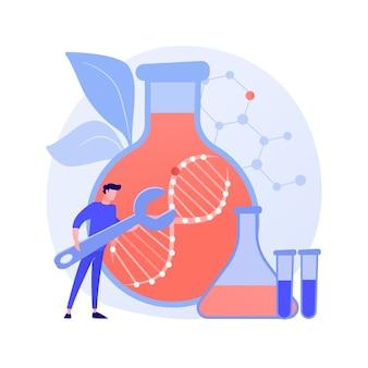 遺伝子治療の抽象的な概念のベクトル図です。遺伝的癌治療、遺伝子導入療法、再生医療、腫瘍学における実験的アプローチは、病気の抽象的な比喩を防ぎます。