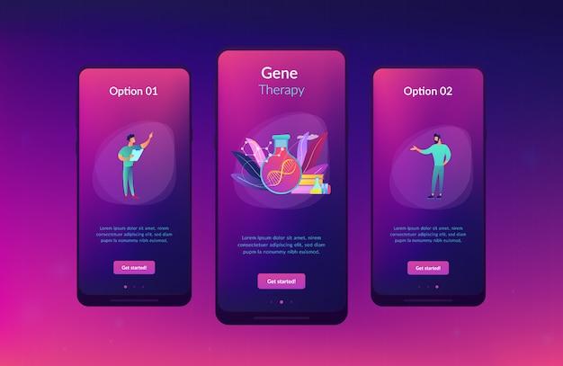 유전자 치료 앱 인터페이스 템플릿. 프리미엄 벡터