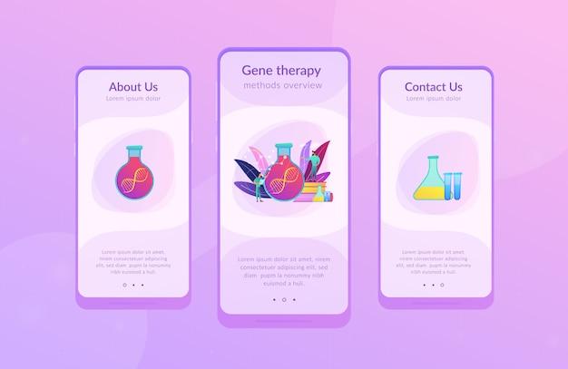 유전자 치료 앱 인터페이스 템플릿.
